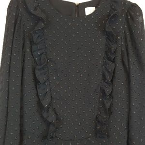 a new day Dresses - A New Day black french dot ruffled dress size S